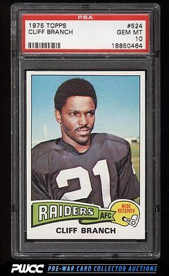 1975 Topps Football Cliff Branch ROOKIE RC 524 PSA 10 GEM MINT PWCC