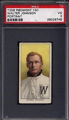 T206 Walter Johnson Portrait Washington PSA 3 Piedmont Back 616810