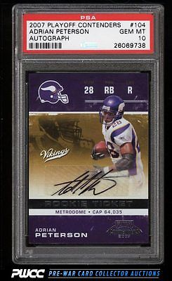 2007 Playoff Contenders Adrian Peterson ROOKIE AUTO 104 PSA 10 GEM MINT PWCC