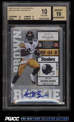 2010 Playoff Contenders Antonio Brown ROOKIE RC AUTO 105 BGS 10 PRISTINE PWCC