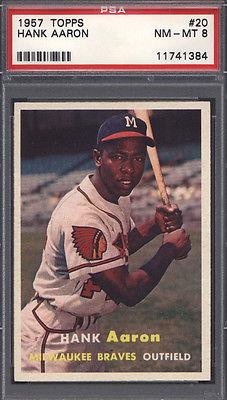 1957 Topps 20 Hank Aaron Braves PSA 8 617956