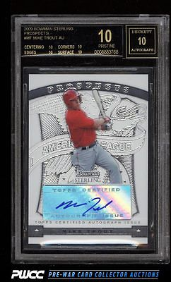 2009 Bowman Sterling Prospects Mike Trout ROOKIE RC AUTO BGS 10 PRISTINE PWCC