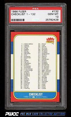 1986 Fleer Basketball Checklist 1132 132 PSA 10 GEM MINT PWCC