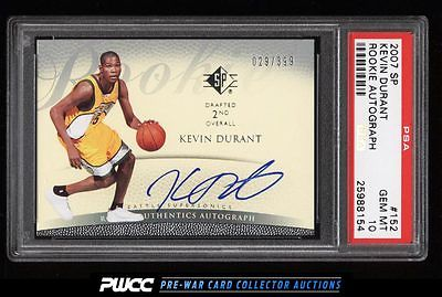 2007 SP Basketball Kevin Durant ROOKIE RC AUTO 399 152 PSA 10 GEM MINT PWCC