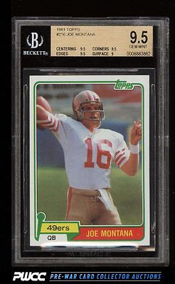 1981 Topps Football Joe Montana ROOKIE RC 216 BGS 95 GEM MINT PWCC