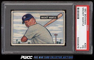 1951 Bowman Mickey Mantle ROOKIE RC 253 PSA 3 VG PWCC