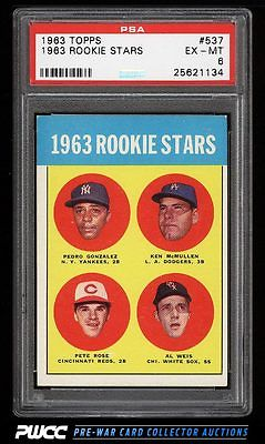 1963 Topps Pete Rose ROOKIE RC 537 PSA 6 EXMT PWCC