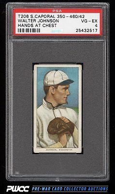 190911 T206 Walter Johnson HANDS AT CHEST SC FACTORY 42 PSA 4 VGEX PWCC