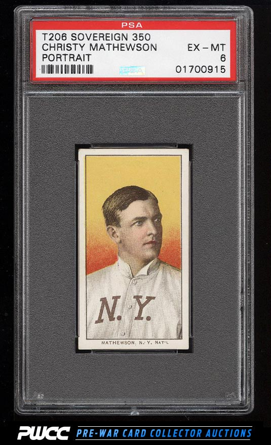 190911 T206 Christy Mathewson PORTRAIT SOVEREIGN PSA 6 EXMT PWCC