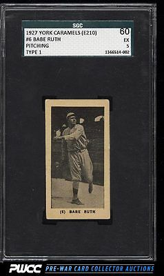1927 E210 York Caramels Type 1 Babe Ruth 6 SGC 560 EX PWCC