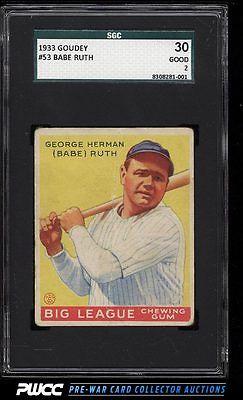 1933 Goudey Babe Ruth 53 SGC 230 GD PWCC