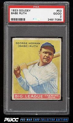 1933 Goudey Babe Ruth 53 PSA 2 GD PWCC
