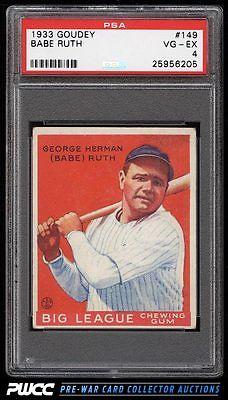 1933 Goudey Babe Ruth 149 PSA 4 VGEX PWCC