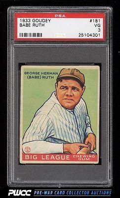 1933 Goudey Babe Ruth 181 PSA 3 VG PWCC