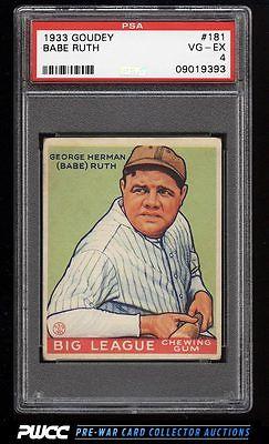 1933 Goudey Babe Ruth 181 PSA 4 VGEX PWCC