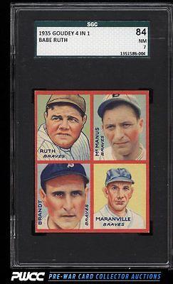 1935 Goudey 4In1 Babe Ruth Rabbit Maranville Brandt McManus SGC 784 PWCC