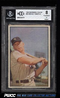 1953 Bowman Color Mickey Mantle 59 BCCG 8 PWCC