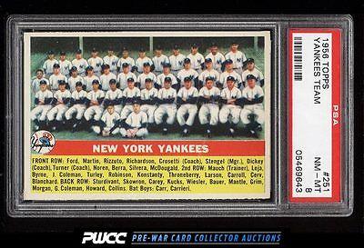 1956 Topps Yankees Team 251 PSA 8 NMMT PWCC