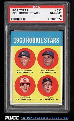 1963 Topps Pete Rose ROOKIE RC 537 PSA 8 NMMT PWCC