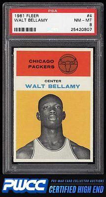 1961 Fleer Basketball Walt Bellamy ROOKIE RC 4 PSA 8 NMMT PWCCHE