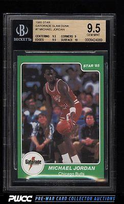 198586 Star Gatorade Slam Dunk Michael Jordan ROOKIE RC 7 BGS 95 GEM PWCC