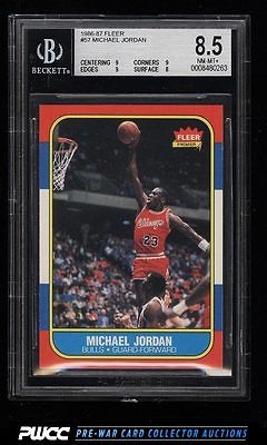 1986 Fleer Basketball Michael Jordan ROOKIE RC 57 BGS 85 NMMT PWCC