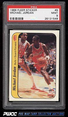 1986 Fleer Sticker Michael Jordan ROOKIE RC 8 PSA 9 MINT PWCC