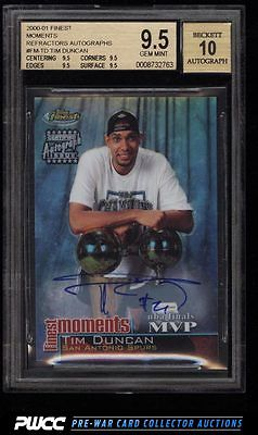 2000 Finest Moments Refractors Tim Duncan AUTO 10 FMTD BGS 95 GEM MINT PWCC