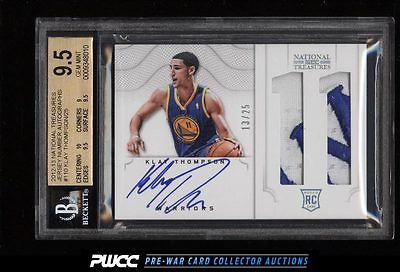 2012 National Treasures Number Klay Thompson RC AUTO PATCH 25 BGS 95 PWCC