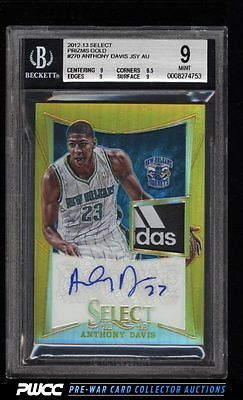 2012 Select Prizms Gold Anthony Davis ROOKIE AUTO PATCH 10 270 BGS 9 MT PWCC