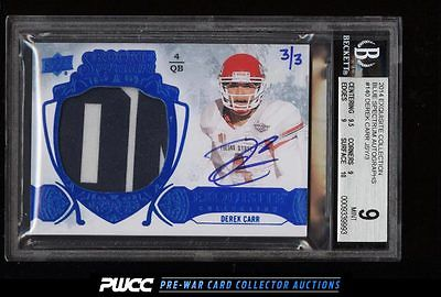 2014 Exquisite Blue Spectrum Derek Carr ROOKIE AUTO PATCH 3 BGS 9 MINT PWCC