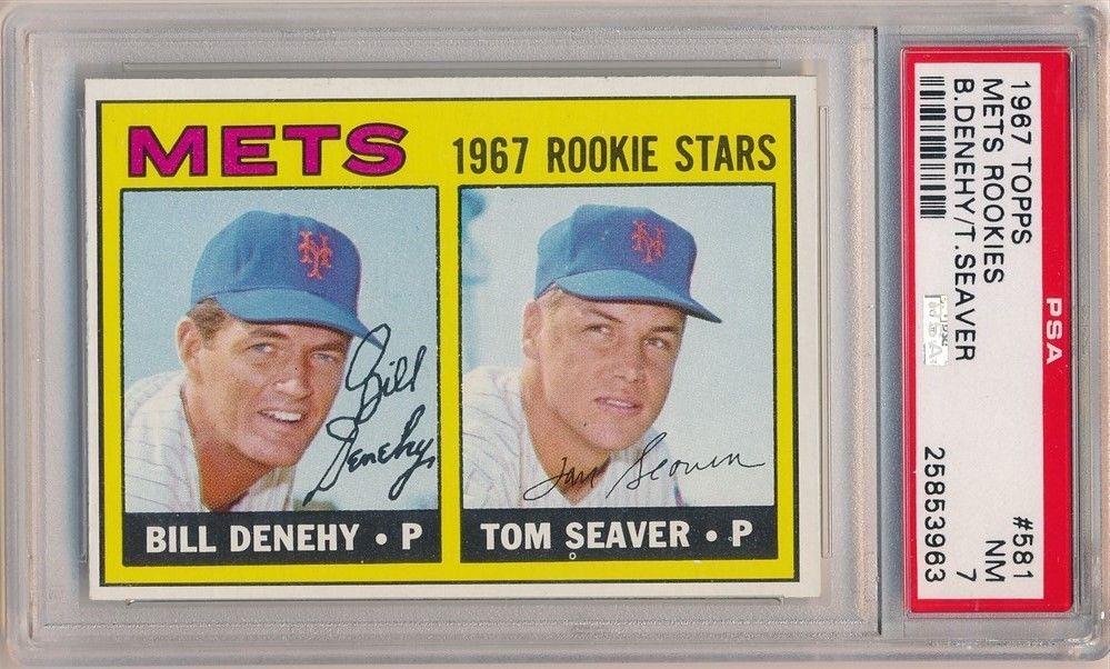 TOM SEAVER 1967 TOPPS 581 RC ROOKIE CARD NEW YORK METS ROOKIES PSA 7 NM