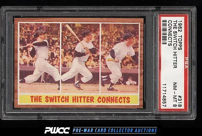 1962 Topps SETBREAK Mickey Mantle SWITCH HITTER CONNECTS 318 PSA 8 NMMT PWCC