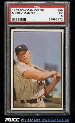 1953 Bowman Color Mickey Mantle 59 PSA 5 EX PWCC
