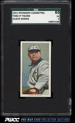 190911 T206 Cy Young CLEVELAND GLOVE SHOWS SGC 560 EX PWCC