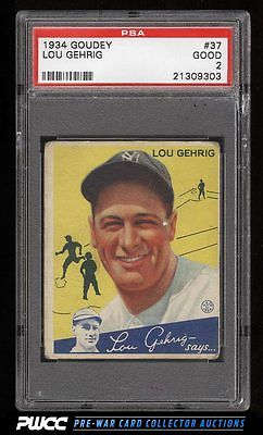 1934 Goudey Lou Gehrig 37 PSA 2 GD PWCC