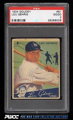 1934 Goudey Lou Gehrig 61 PSA 2 GD PWCC