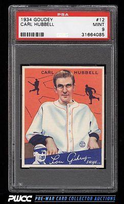1934 Goudey SETBREAK Carl Hubbell 12 PSA 9 MINT PWCC