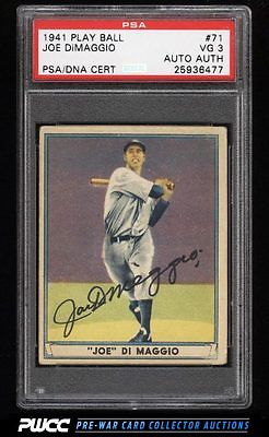 1941 Play Ball Joe DiMaggio PSADNA AUTO 71 PSA 3 VG PWCC