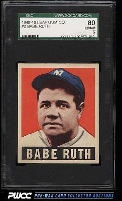1948 Leaf Babe Ruth 3 SGC 680 EXMT PWCC