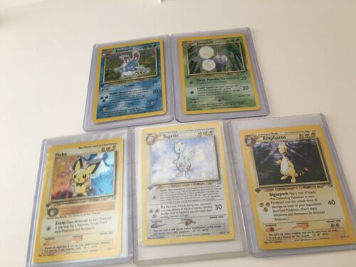 Pokemon Card Neo Genesis First Edition Nm Azumarill Ampharos Pichu Jumpluff Tog