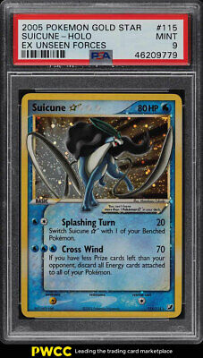 2005 Pokemon EX Unseen Forces Gold Star Holo Suicune 115 PSA 9 MINT