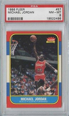 MICHAEL JORDAN 1986 87 FLEER BASKETBALL 57 BULLS ROOKIE PSA 8