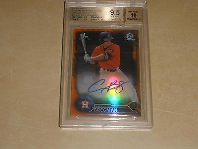 2016 Bowman Chrome Prospect Orange Refractor Auto Alex Bregman 2525 BGS 95 GEM