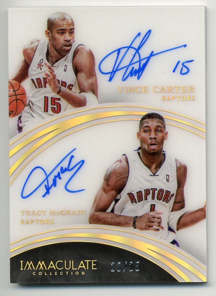 Vince Carter Tracy Mcgrady 201516 Immaculate Dual Auto 2325