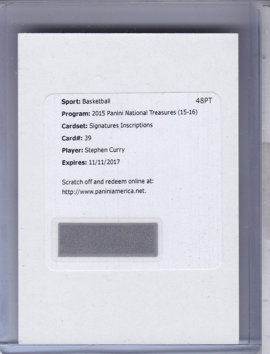 Stephen Curry 201516 National Treasures Inscriptions Auto 10