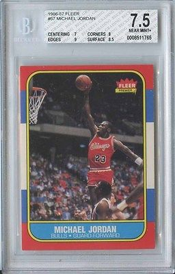 MICHAEL JORDAN 1986 87 FLEER BASKETBALL 57 BULLS ROOKIE BGS 75