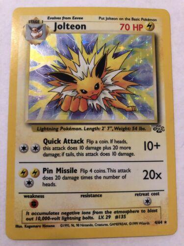 1st Gen Holographic Jungle Jolteon Pokemon Card  Rare Slightly Used 464