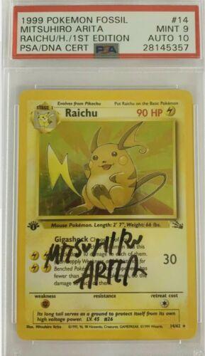 Pokemon Card Raichu 1462 Holo 1st Graded PSA 9  10 Mint Signed Mitsuhiro Arita