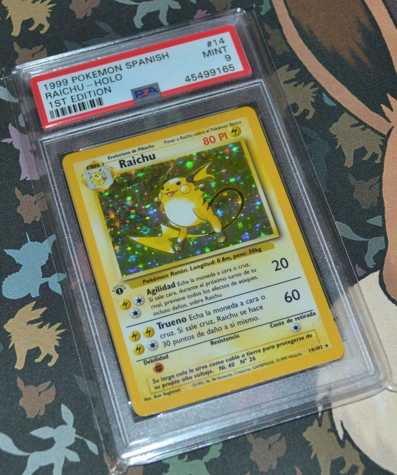 1999 Spanish Pokemon 1st Edition Base RAICHU Holo 14102   PSA 9